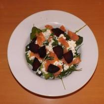 Smoked salmon, beetroot, cottage cheese salad - delicious